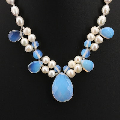 Pearl and Opaline Glass Necklace