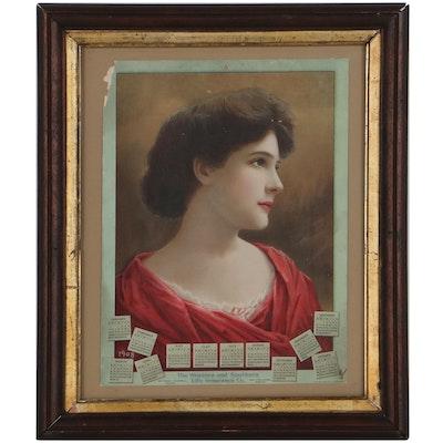 Calendar Chromolithograph of Woman, 1908