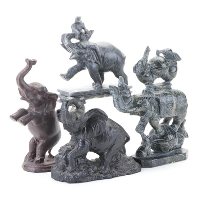 Carved Soapstone Circus Elephant Figurines with Coal and Cast Brass Elephants