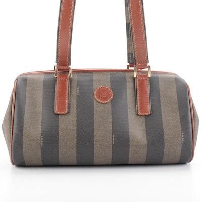 Fendi Boston Bag in Pequin Stripe with Leather