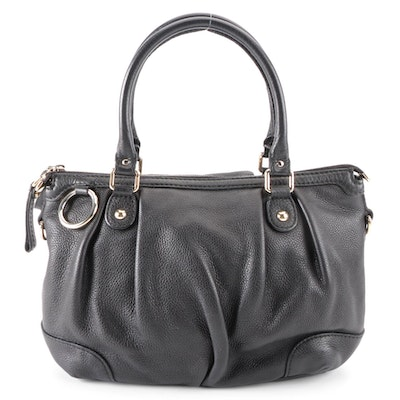 Gucci Sukey Shoulder Bag in Black Grained Leather