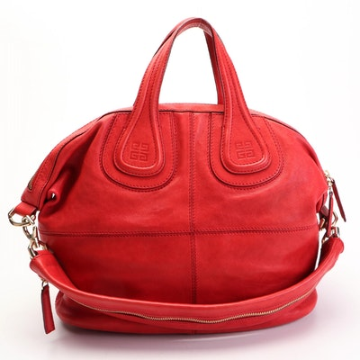 Givenchy Nightingale Medium Two-Way Satchel in Red Calfskin Leather