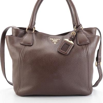 Prada Side Pocket Convertible Tote Vitello Daino Leather