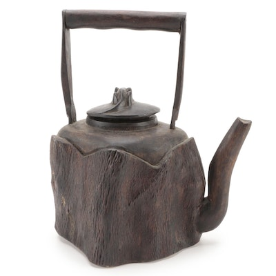 Hand Carved Wood Decorative Tea Kettle with Lizard Finial Lid