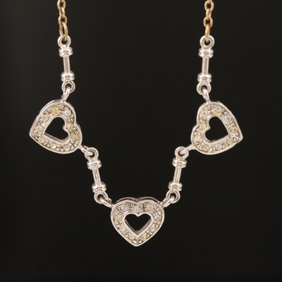 Rhinestone Heart Necklace with Arrow Toggle Clasp