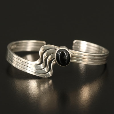 A Anderson Sterling Black Onyx Wave Cuff