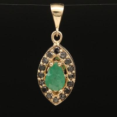 14K Emerald and Diamond Navette Pendant