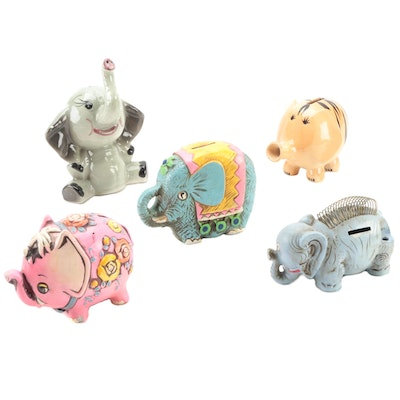 Japanese and Other Ceramic Elephant Banks, Mid to Late 20th Century