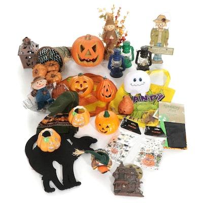 Halloween Decorations Feat. Pumpkin Candles, Illuminated Jack-O-Lantern, & More