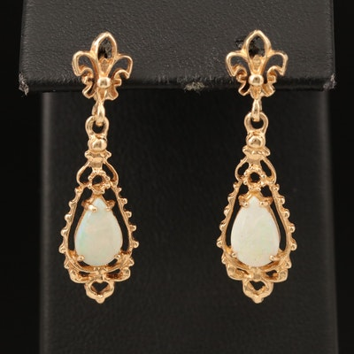 14K Opal Pendulum Earrings