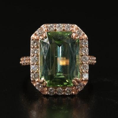 14K 9.25 CT Tourmaline and Diamond Halo Statement Ring