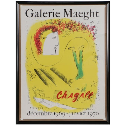 Marc Chagall Lithograph Exhibition Poster for Galerie Maeght, 1969