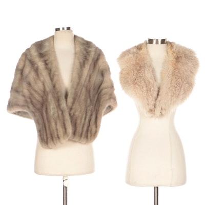 Sapphire Mink Fur Stole and Fox Fur Collar