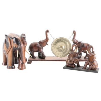 Cocobolo and Other Wooden Elephants with Elephant Form Mantle Gong
