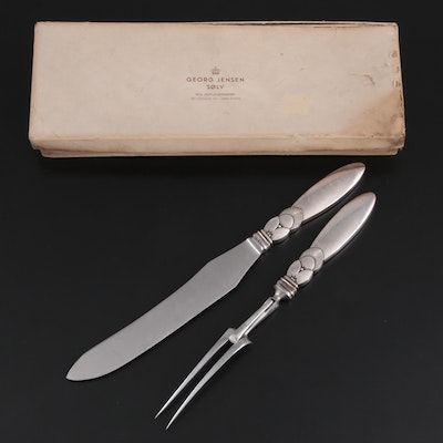 """Georg Jensen """"Cactus"""" Sterling Silver and Stainless Steel Carving Set"""
