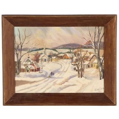 Vira Grace Saur Winter Landscape Oil Painting, 1951