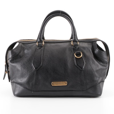 Burberry Bowler Bag in Black Grained Leather