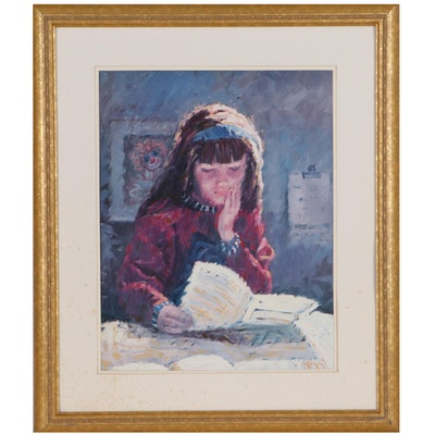 Embellished Offset Lithograph of Young Girl Reading, Late 20th Century
