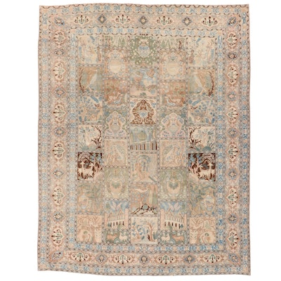 9'6 x 12'3 Hand-Knotted Indo-Persian Garden Panel Room Sized Rug