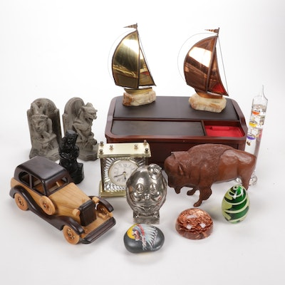 Desk Organizer, Mantel Clock, Book Ends, and Other Office Decor