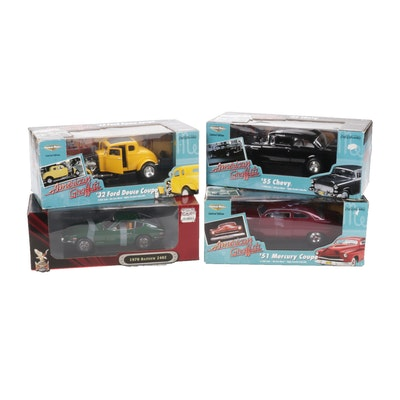 Four Die-Cast Model Cars Featuring '51 Mercury Coupe and '55 Chevy