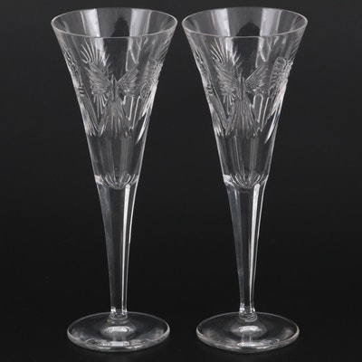 """Waterford Crystal """"The Millennium Collection"""" Toasting Flutes, 1996-2005"""