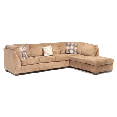 Brown Sectional Upholstered Sofa with Accent Pillows