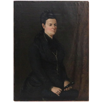Portrait Oil Painting of Woman in Black, 1883