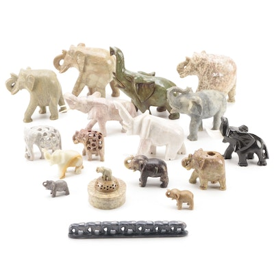 Carved Soapstone, Jasper, and Other Stone Elephant Figurines and Trinket Box