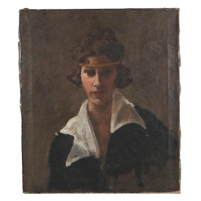 Portrait Oil Painting of Woman with Collared Shirt, Early-Mid-20th Century