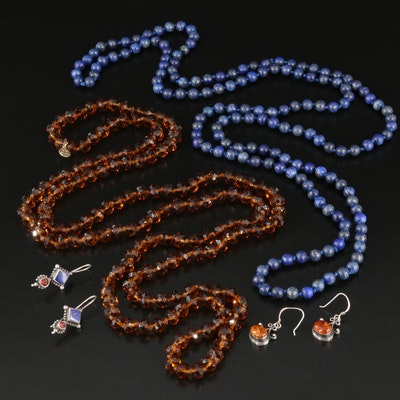 Lapis Lazuli and Amber Beaded Necklace and Earring Sets