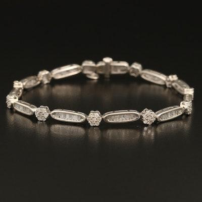 Sterling 2.46 CTW Diamond Link Bracelet