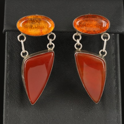 Sterling Amber and Carnelian Drop Earrings
