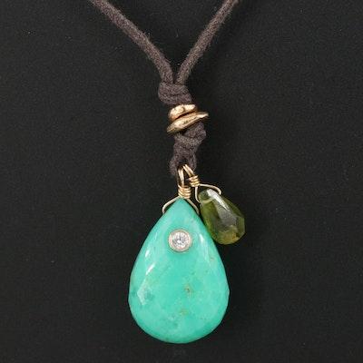 14K Green Beryl, Diamond, Peridot, and Pearl Drop Necklace