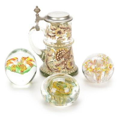 Rein Zinn Glass Stein and Handblown Paperweights