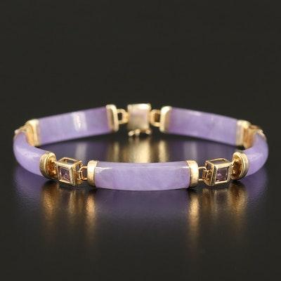 Sterling Jadeite Curved Bar and Amethyst Bracelet