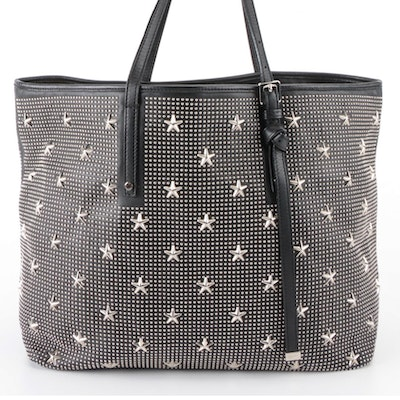 Jimmy Choo Star Studded Tote Bag in Black Leather