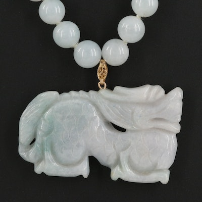 Carved Jadeite Dragon Pendant Necklace with 14K Clasp
