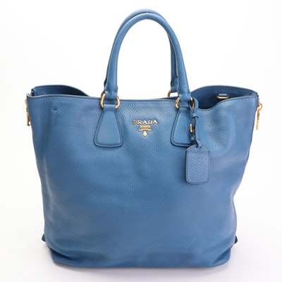 Prada Blue Vitello Daino Leather Side Zip Convertible Tote