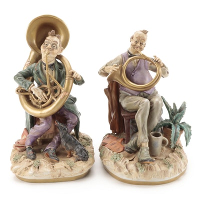 Unterweißbacher Werkstätten Signed German Porcelain Musicians, Late 20th Century