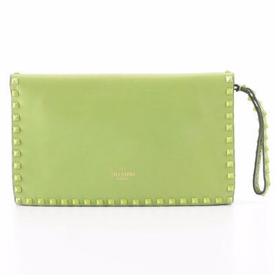 Valentino Rockstud Flap Clutch in Lime Green Smooth Leather