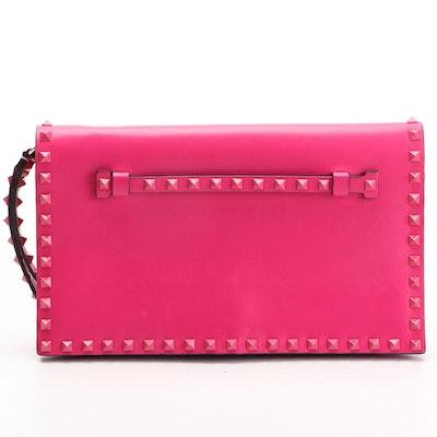 Valentino Rockstud Pink Leather Flap Wristlet