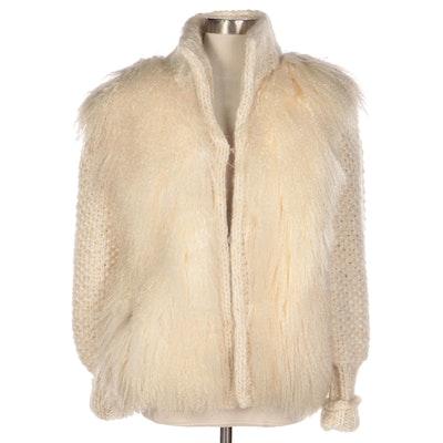 Knitted Wool Blend Jacket with Tibetan Lamb Fur