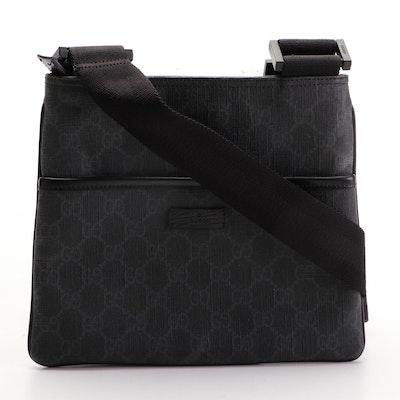 Gucci Black GG Supreme Coated Canvas Flat Messenger Crossbody