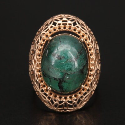 14K Emerald Floral Openwork Dome Ring