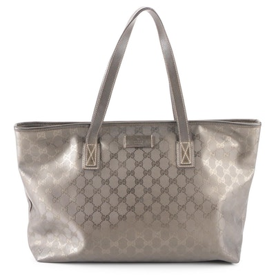 Gucci Zip Top Shopping Tote in GG Imprimé Coated Canvas