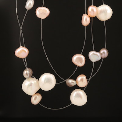 Peter S Bram Pearl Station Necklace