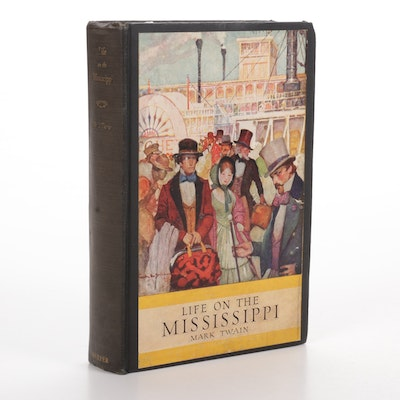"""1917 """"Life On the Mississippi"""" by Mark Twain, Illustrations by Walter Stewart"""