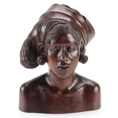 Balinese Carved Wooden Bust of Woman