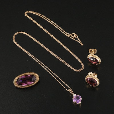 10K Necklace, 14K Earrings and Vintage Brooch with Amethyst